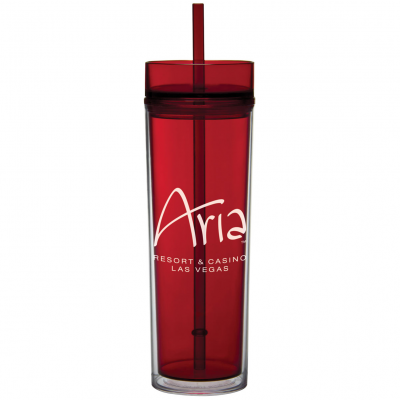 16 oz Tube Tumbler with Straw
