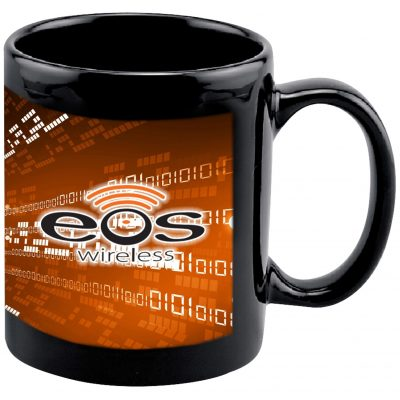 11 Oz. Full Color Black Stoneware Executive Mug