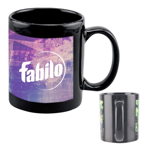 11 Oz. Full Color Black Stoneware Executive Mug