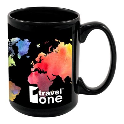 15 Oz. Full Color Black Stoneware Magna Mug