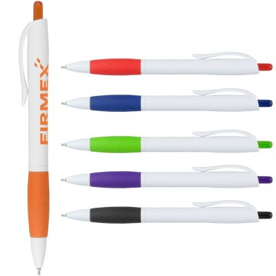 Super Glide Pen White Pen with Colored Gripper
