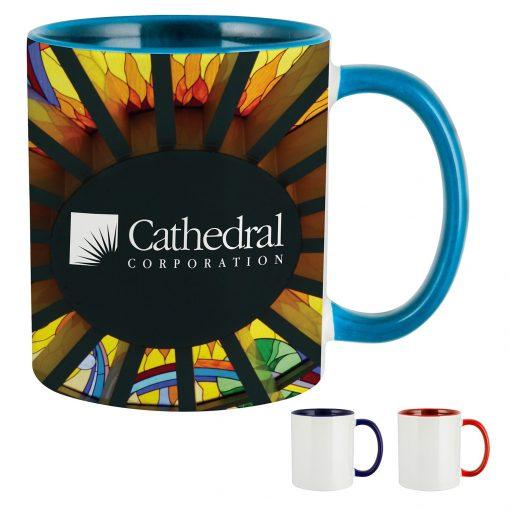 11 Oz. Dye Sublimated Mug w/ Colored Inner & Handle