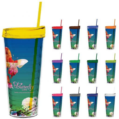 22 oz Made In The USA Tumbler w/ Lid & Straw