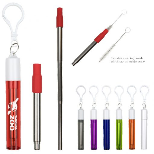 Collapsible Stainless Steel Straw w/ Silicone Tip