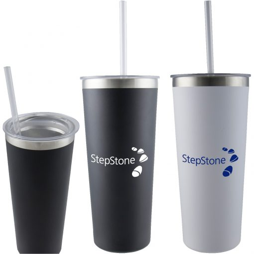 23 oz Double Wall Stainless Tumbler with Straw