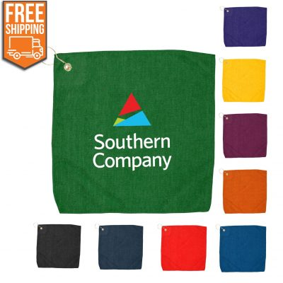 "15"" x 15"" Hemmed Color Golf Towel - Free FedEx Ground Shipping"