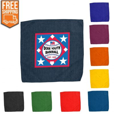 "15"" x 15"" Hemmed Color Rally Towel - Free FedEx Ground Shipping"