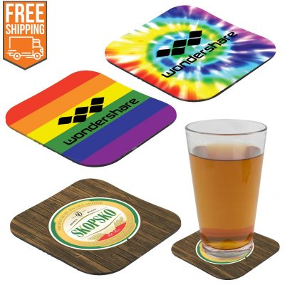 "Full color Rubber Coaster 4-1/4"" square 1/8"" - Free FedEx Ground Shipping"